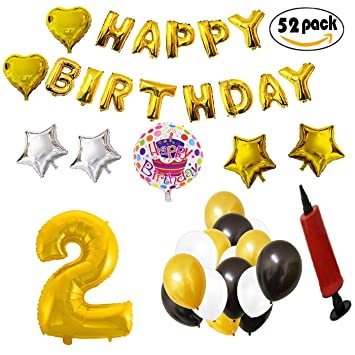 COTIGO - Globos Cumpleaños Happy Birthday #2 Color Dorado, Año 2