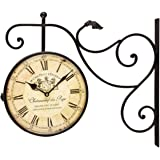 """Adeco CK0072 Black Wrought Iron Vintage-Inspired Train Railway Station Style Round Double Side Two Faces Wall Hanging Clock with Scroll Wall Side Mount """"Chateau Renier"""" Home Decor, Black"""