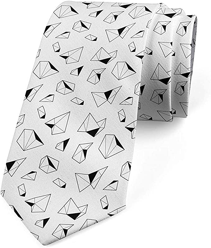 Corbata para hombre, monocromo poligonal, gris carbón y blanco ...