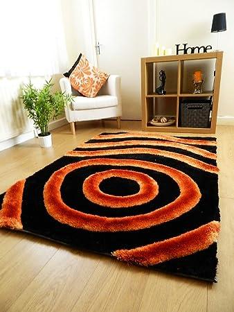 New Black Orange Luxurious Thick Pile Rug Modern Soft Silky