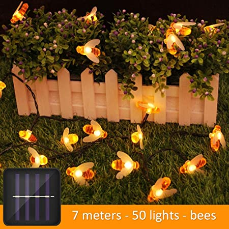 Fiesta festiva luces solares cadena luces LED luces intermitentes luces al aire libre estrellas luces jardín decorativo balcón jardín árbol luces 7 metros 50 luces gotas de agua luces impermeables: Amazon.es: Hogar