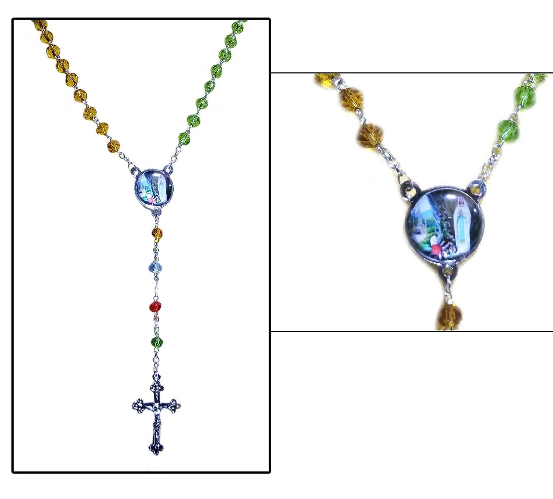 Rosario cattolico, Perline colorate a più colori con croce crocifisso, attaccapanni, croce a muro, piccolo rosario, giorno di Pasqua / festa della mamma / regalo del Venerdì Santo IndiaBigShop