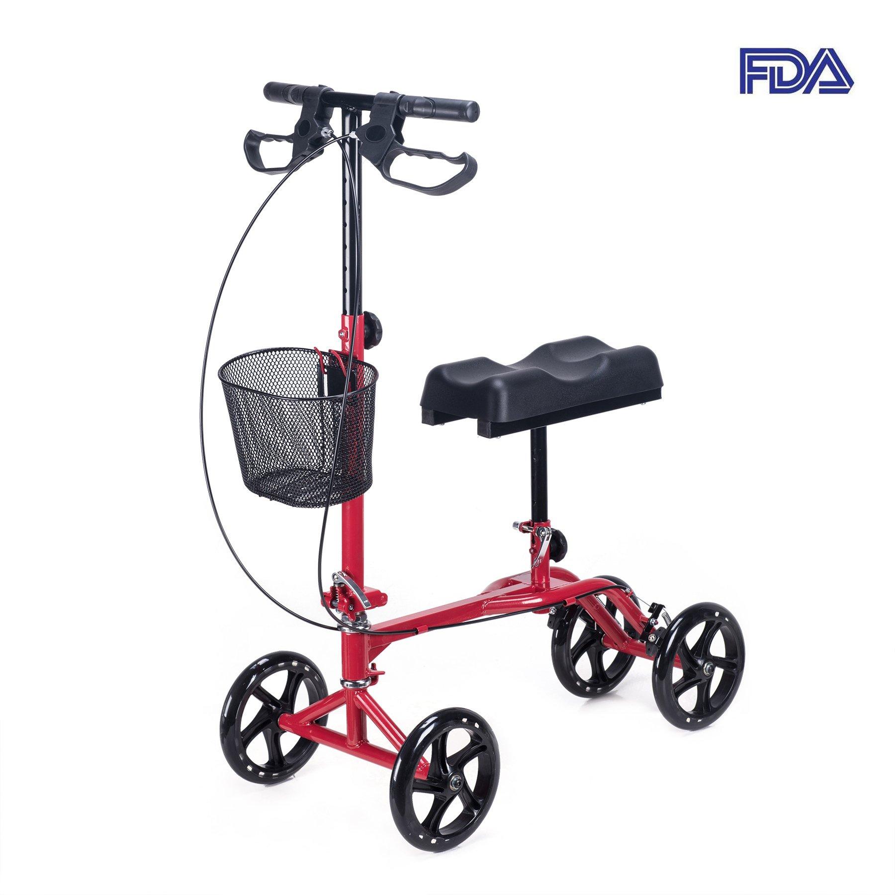 CO-Z Steerable Foldable Knee Walker Roller Scooter with Basket, 8'' Antiskid Rubber Wheels, Safety Double Brakes, Leg Walker Crutch (Red)