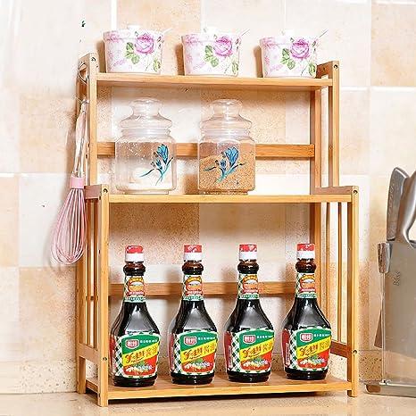 SHtlj Especieros Estantería de Cocina Madera Sazonadores Suministros de Cocina  Estantes Piso Multifunción Cocina Acabado Rack (Tamaño   41   18   37cm)   ... a0aa00c776ef