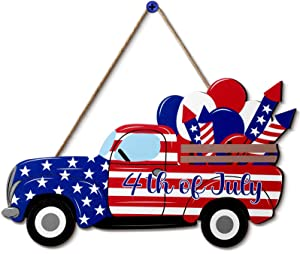 4th of July Hanging Sign Independence Day Decoration American Flag Truck Decor Door Sign Wooden Hanging Truck Sign Plaque Decor for Room Front Door Porch, 11.8 x 4.8 Inch