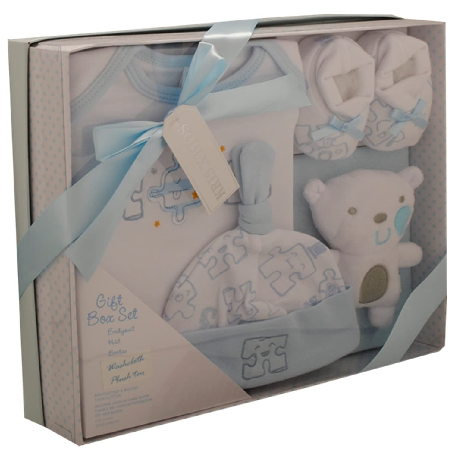 Baby Gift Set - Kris X Kids 6 Piece Luxury Basket Gift Set - Blue