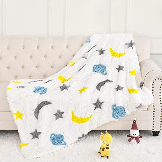 BENRON Soft Blanket for Kids, 50x60'' Lightweight Plush Throw Blanket with Stars Moon Print for Boys and Girls, Fuzzy Sherpa Throws for Kids Room, Sofa, Outdoor, Travel