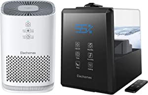 Elechomes Warm & Cool Mist Humidifier UC5501 Bundle withHEPA Air Purifier EP081, 6L Vaporizer for Large Room Baby Bedroom with Remote, Air Cleaner Purifiers for Allergies and Pets Smokers Pollen Dust