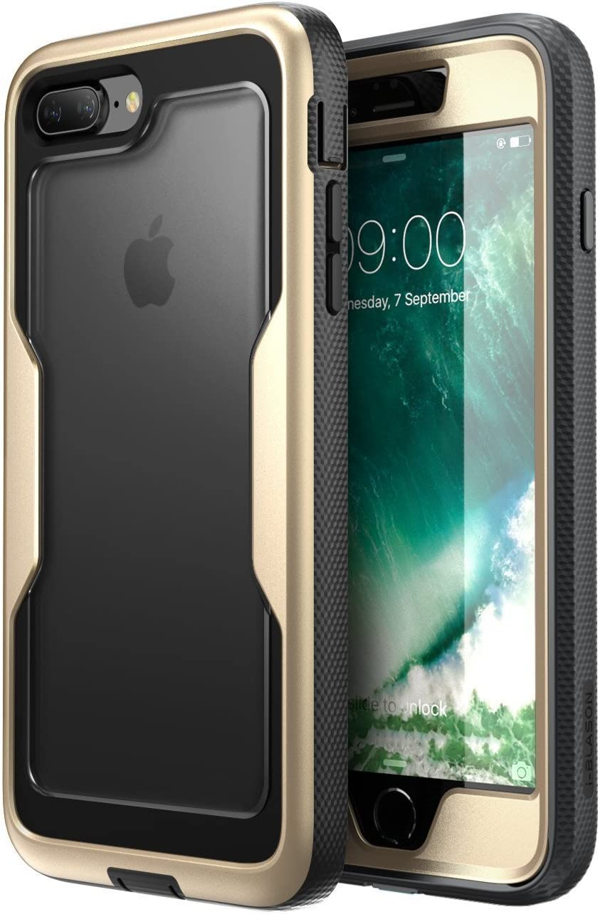 i-Blason Magma Series Case for iPhone 8 Plus 2017/iPhone 7 Plus, Heavy Duty Protection Full Body Bumper Case with Built-in Screen Protector, Includes Removable Beltclip Holster (Gold)