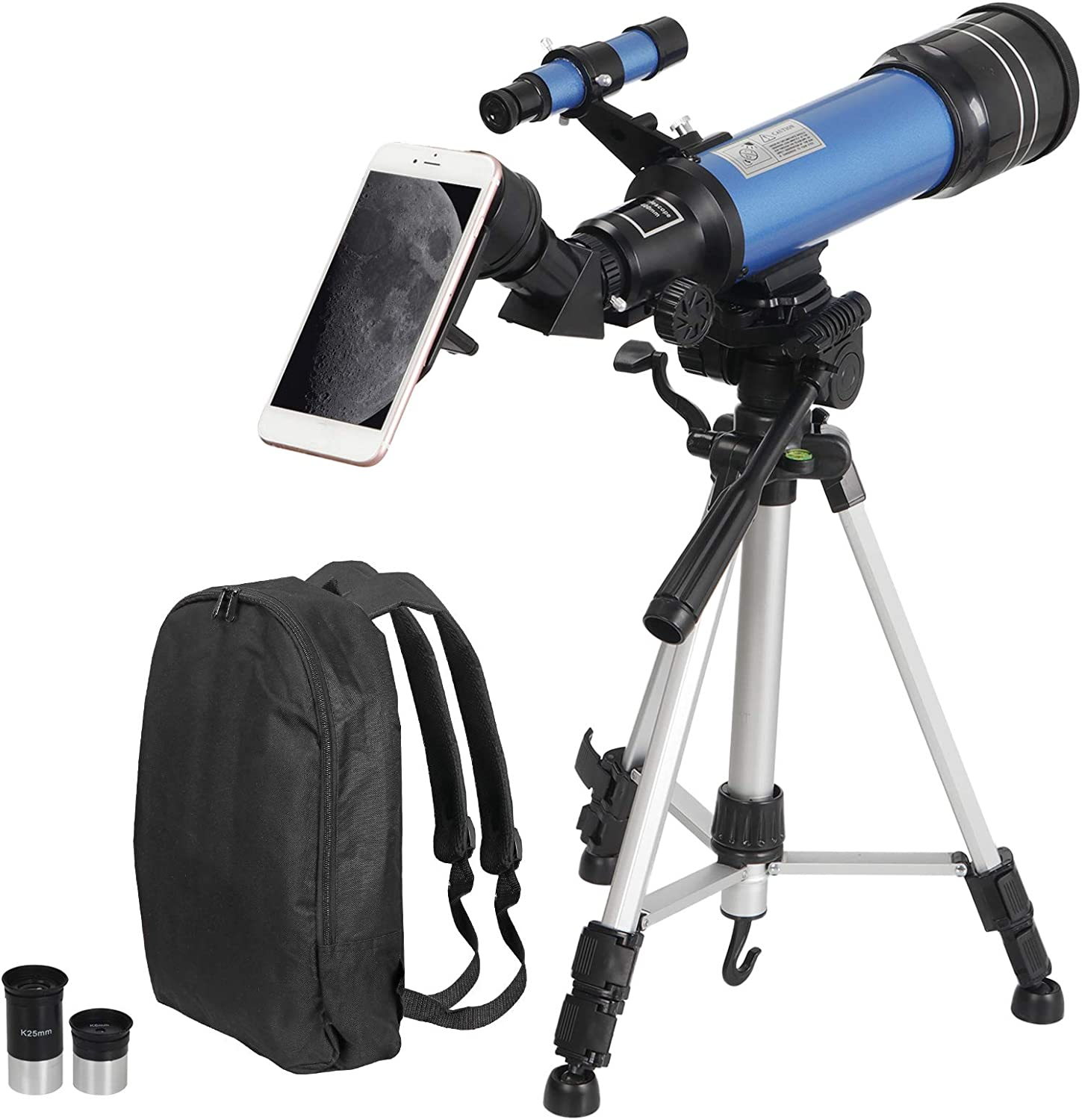 Portable Travel Telescope with Carry Bag ZENY Telescope 70mm Aperture 400mm AZ Mount Astronomical Refractor Telescope for Kids Beginners Smartphone Adapter
