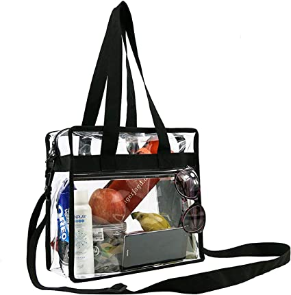 Large Clear Orange Shopper Beach Gym Tote Bag Security Stadium Handbag Purse