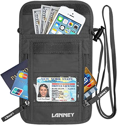 Grey Neck Wallet Travel Pouch RFID Blocking Traveling Passport Holder for Women Men Money Credit Card Passport Holder with Neck Strap Anti-Theft Security Traveling Pouch for Women Kids Waterproof