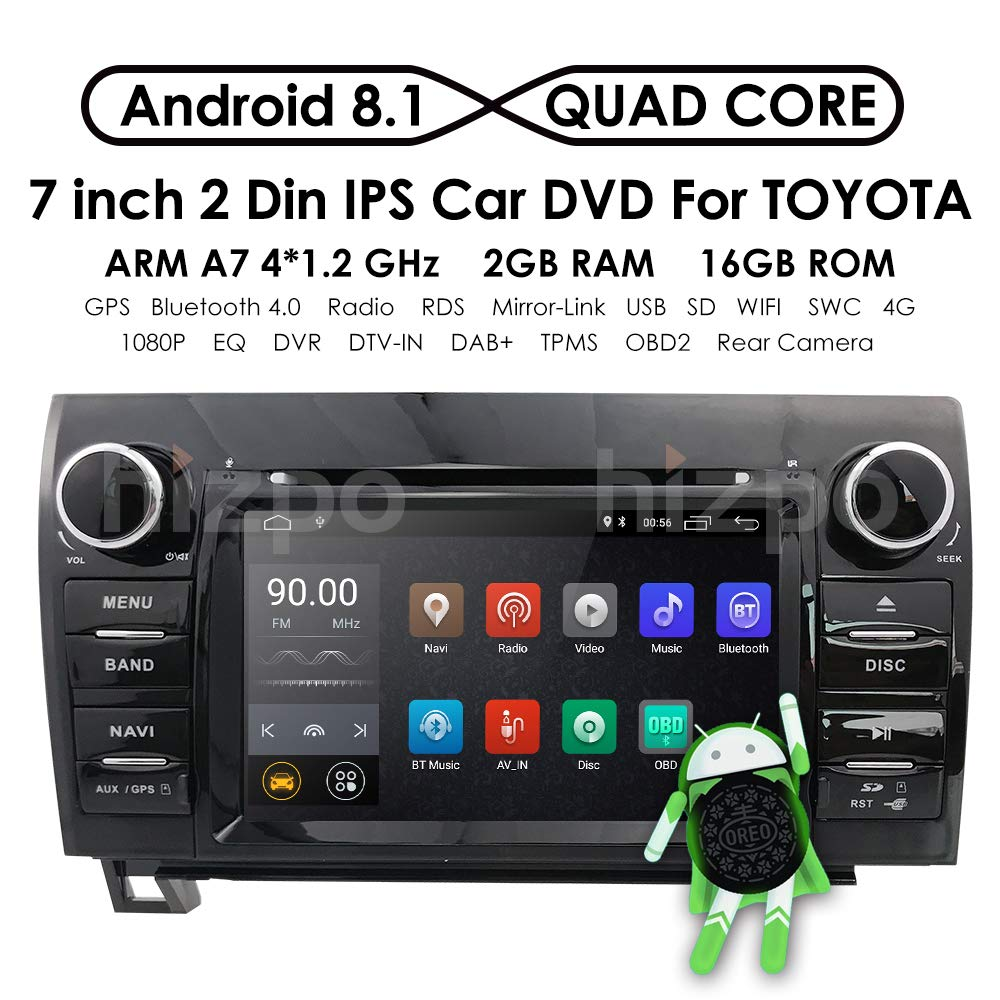 7 Inch Android 8.1 Touch Screen Car Stereo DVD Player in Dash GPS Navigation for 2007-2013 Toyota Tundra/ 2008-2013 Toyota Sequoia Support Bluetooth/WiFi Hotspots/4G/OBD2/DVR/AV-IN
