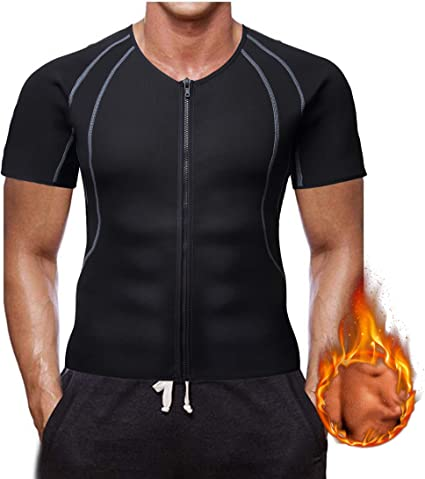 Men Sweat Neoprene Workout Shirt Body Shaper Sports Vest Weight Loss Sauna Suit
