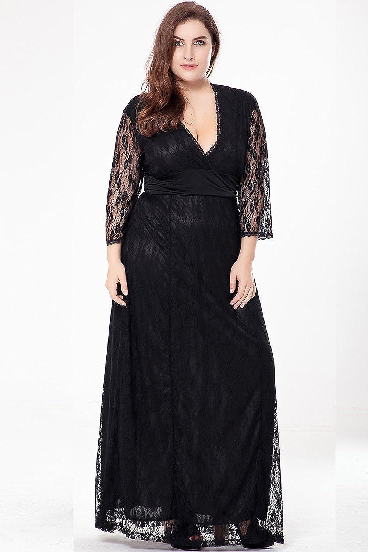 46a7e349074 Zumeet Women Long Lace Plus Size Gown Dress Black at Amazon Women s  Clothing store