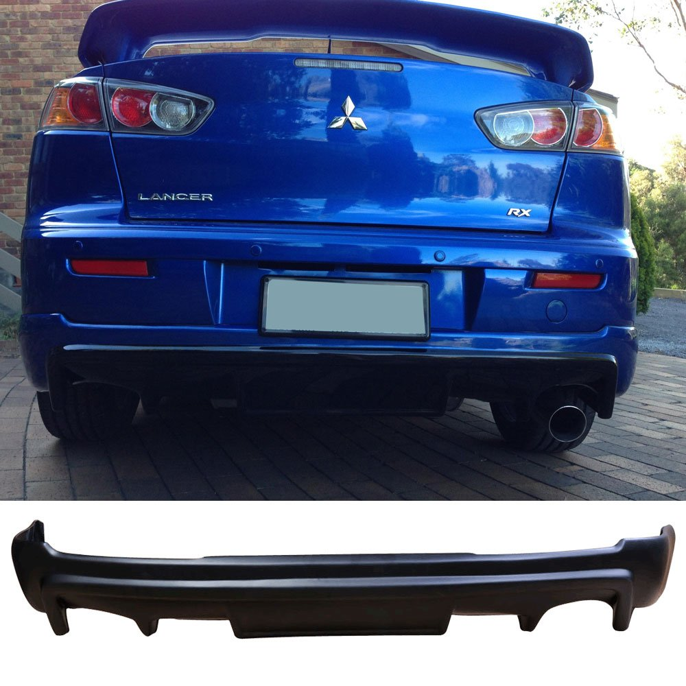 Rear Bumper Lip Fits 2008-2015 MITSUBISHI LANCER   PP Black Rear Lip Spoiler Splitter by IKON MOTORSPORTS   2009 2010 2011 2012 2013 2014