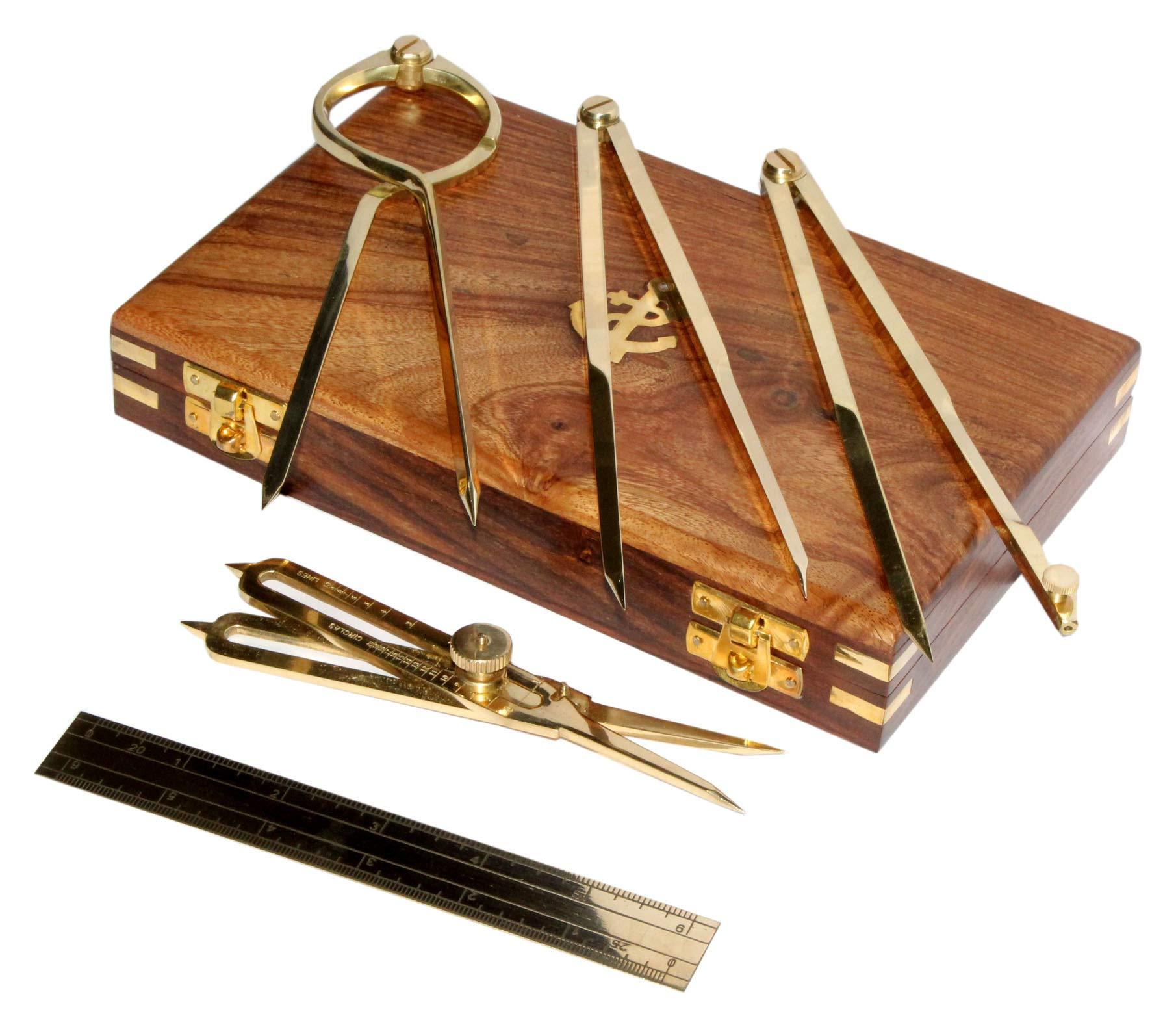 Proportional Divider Set of 5, Full Brass dividers with Executive Wooden Box, Single Handed 8'' Brass Navigational Dividers Compass Set for Maritime, Naval, Geometry and Drafting by 5MOONSUN5 (Image #1)