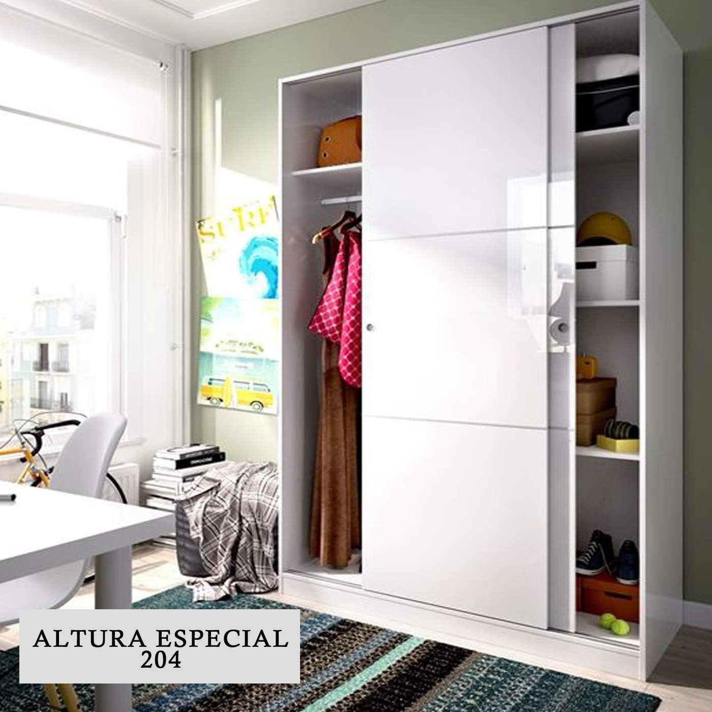 HABITMOBEL Armario Puertas correderas Altura Especial Barra para Colgar Color Blanco 204X120cm: Amazon.es: Hogar