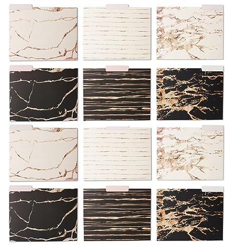 12 unidades decorativo funda carpeta de archivos Set – 12 Oro Rosa Mármol Diseñado – Carta