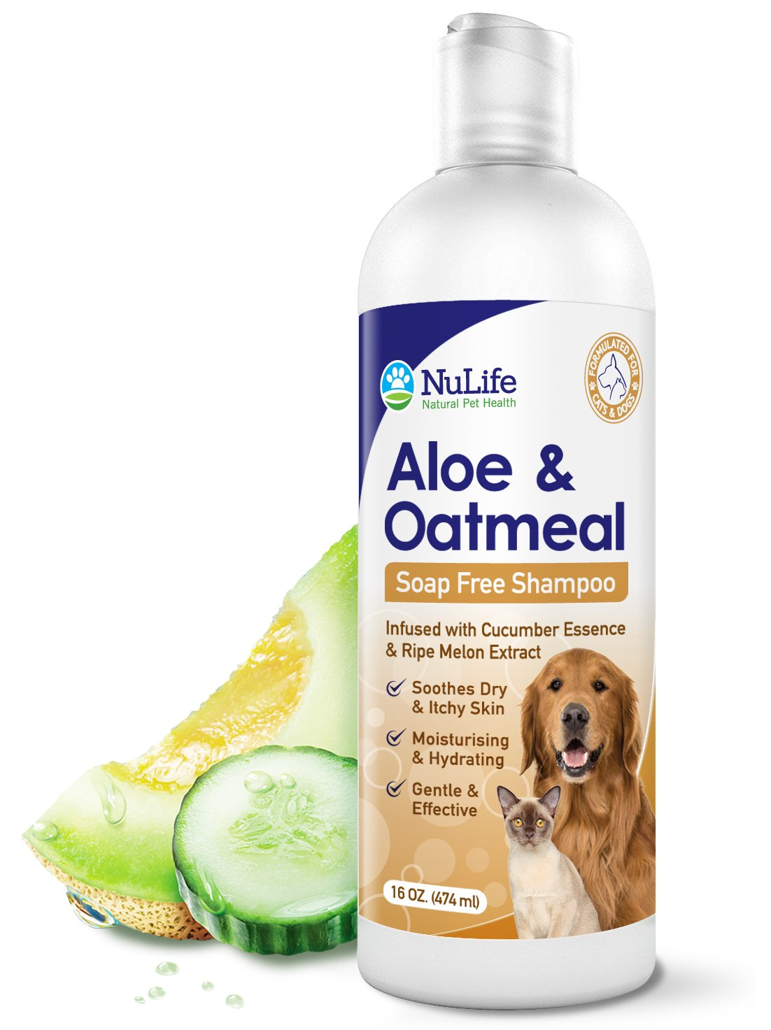 Oatmeal Shampoo For Dogs With Soothing Aloe Vera, Suitable For All Pets, With Cucumber Essence and Ripe Melon Extract, Hypoallergenic, Soap-Free Formula Provides Relief From Dry, Itchy Skin, 16 Oz