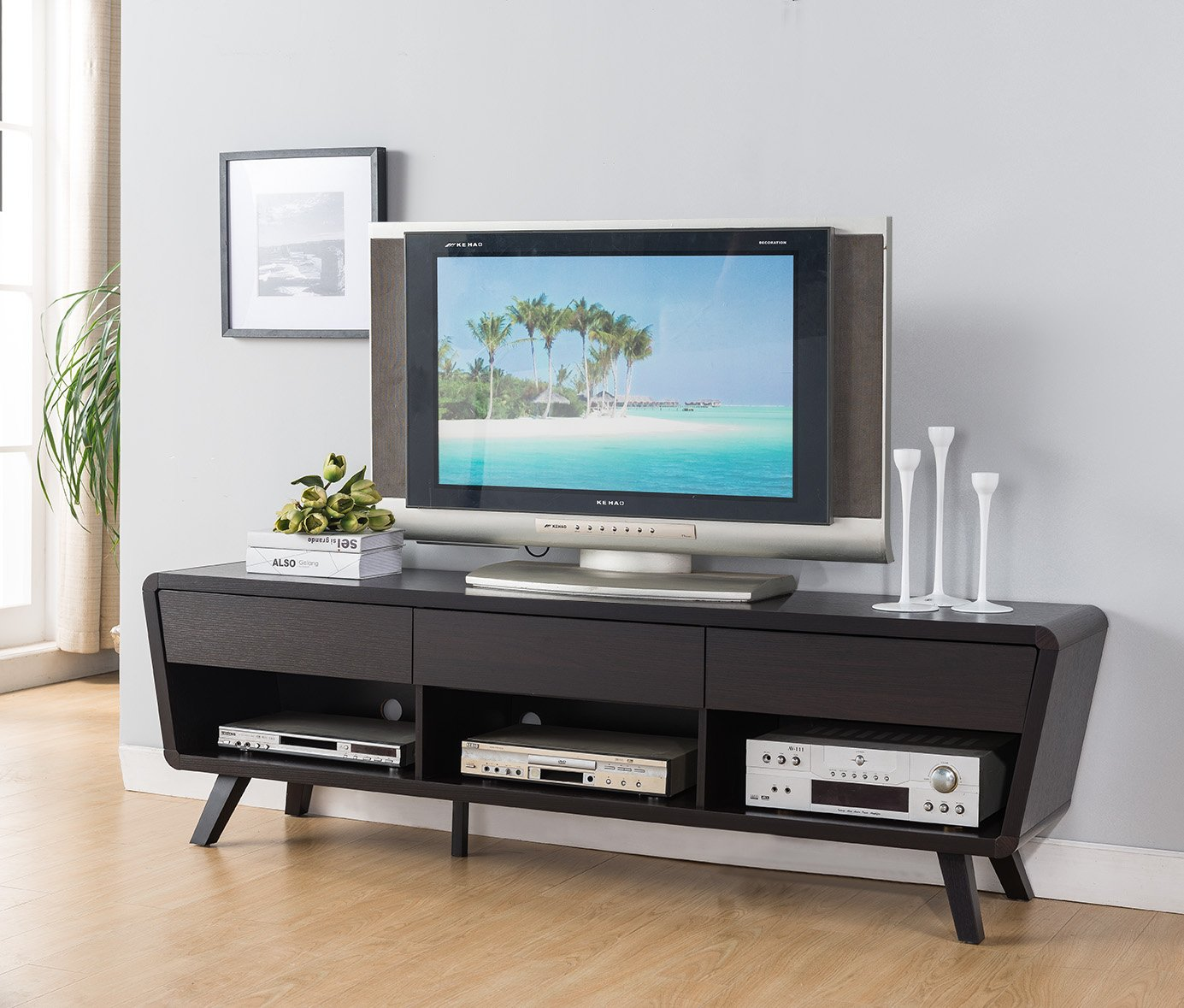 """Smart home 151364 Alexa Contemporary TV Stand Entertainment Center (Red Cocoa) - 74"""" TV Stand Home Entertainment Center Console Storage Compartments & Displays for your Blu Rays, DVDs and More! 3 Drawers & 3 Display Decks - tv-stands, living-room-furniture, living-room - 71Nnj%2BeLLqL -"""