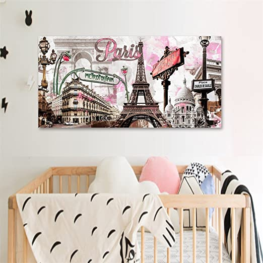 Donglin Art-Modern Wall Decor Pink Paris Eiffel Towel Paintings Stretched for Living Room City Paintings Wall Art Framed Ready to Hang 2412inch (Framed On Canvas)