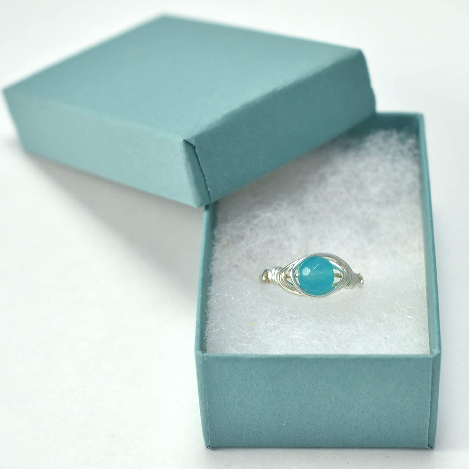 Teal Blue Jade Stone Silver Wire Wrapped Gemstone Ring choose from sizes 3-11