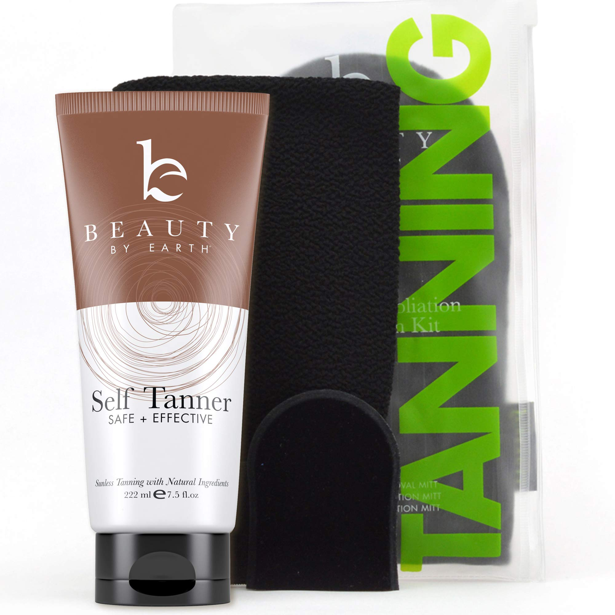 Self Tanner & Tanning Mitt Set - With Natural Tanning Lotion, Exfoliating Gloves, Self Tanner Mitt for Body and Face Tanner Tanning Mit, Best Self Tanning Lotion Kit for Your Self Tan and Fake Tan by Beauty by Earth