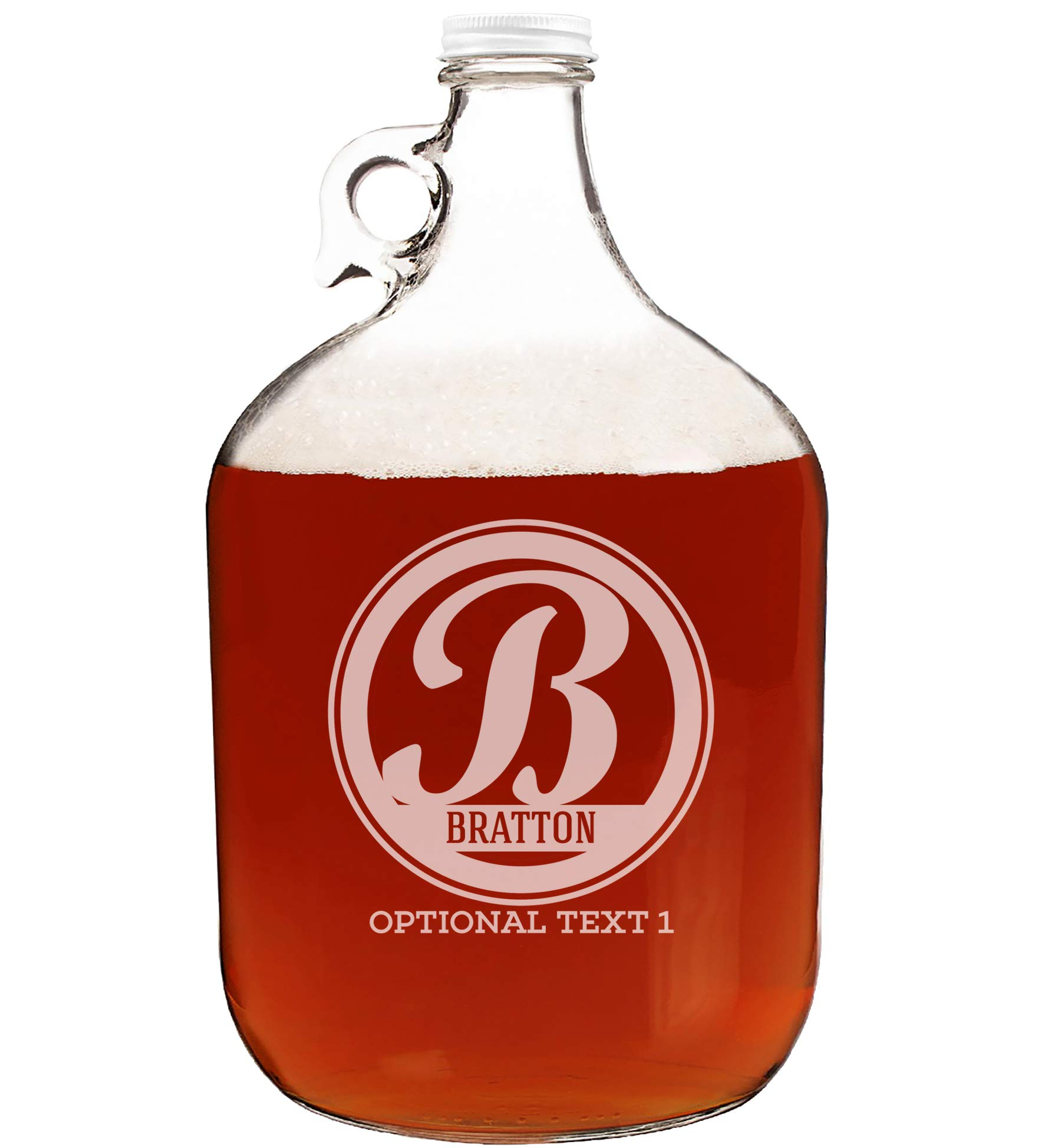 Personalized Etched Monogram 128oz Clear Glass Growler Jug