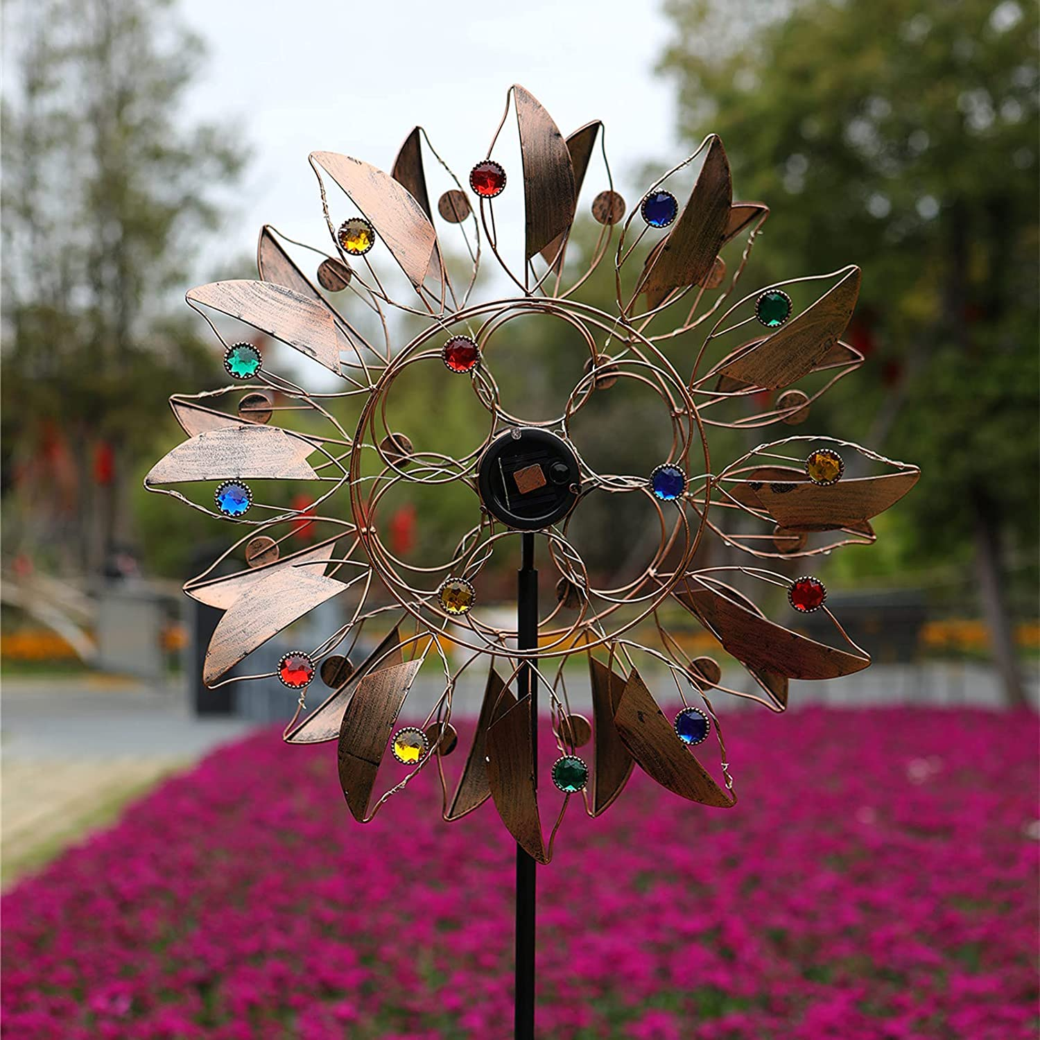 Solar Wind Spinner - Outdoor LED Wind Catcher with Metal Garden Stake Dynamic Wind Vane, Decorative Lawn Ornament Wind Mill