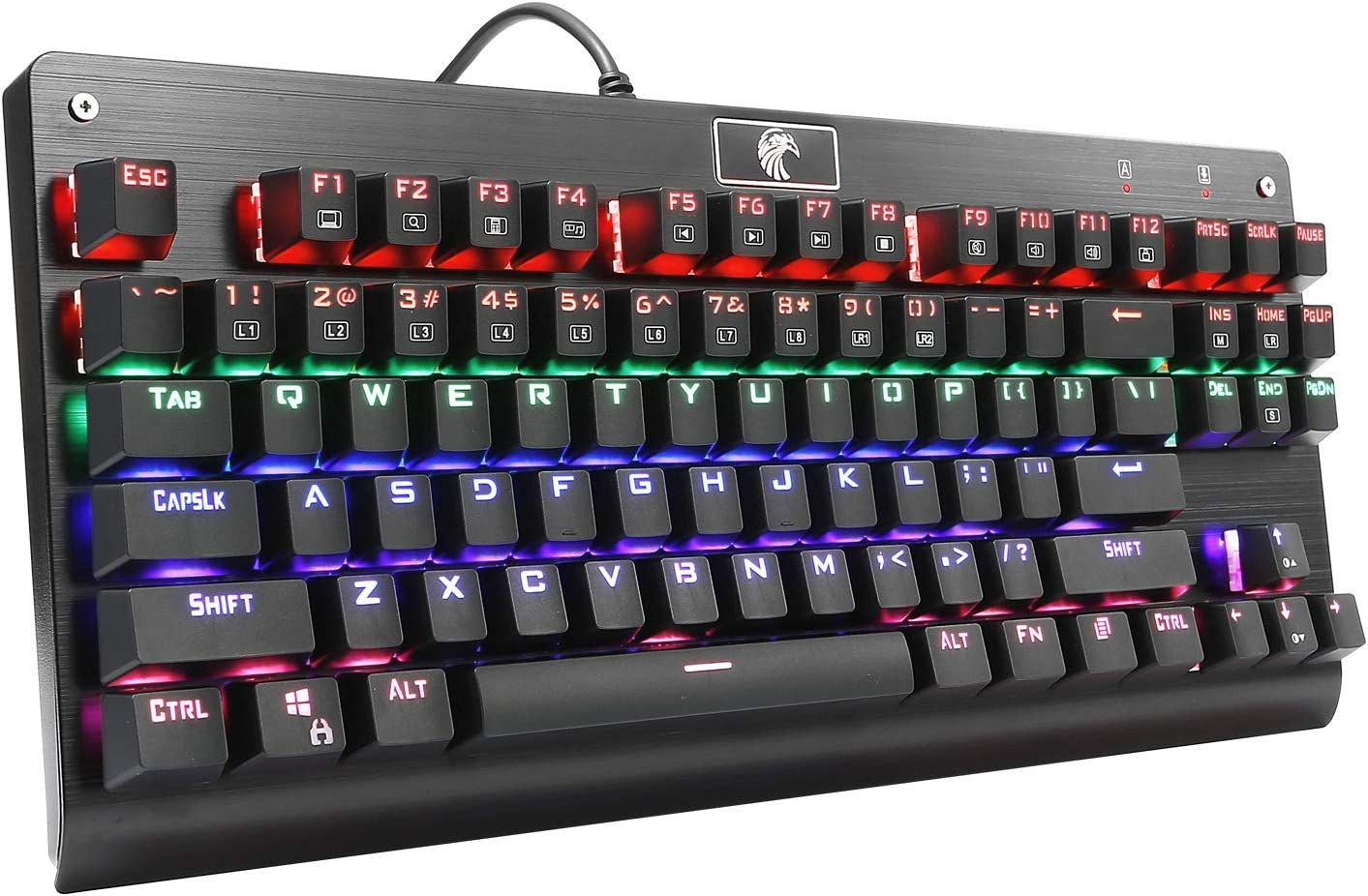 HUO JI Z-77 Mechanical Gaming Keyboard, Multicolor LED Backlit with Red Switches,Tenkeyless 87 Keys Anti-Ghosting for Mac PC, Black