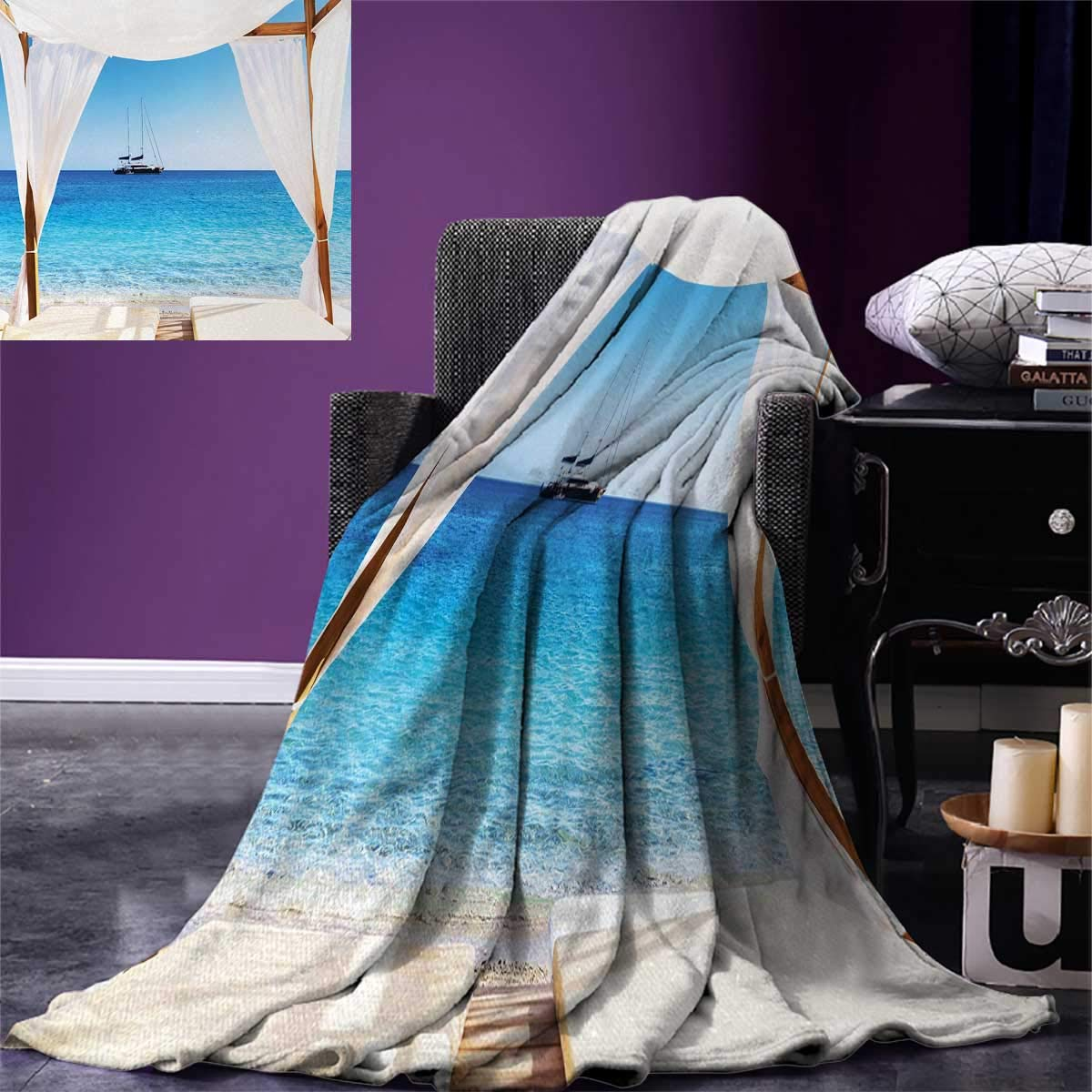 Balinese Digital Printing Blanket Beach Through Balinese Bed Summer Sunshine Clear Sky Honeymoon Natural Spa Picture Summer Quilt Comforter 80''x60'' Blue White