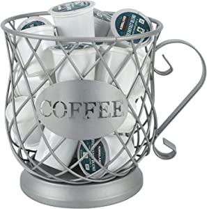 TQVAI Novelty Coffee Pod Organizer Holder Espresso Storage Basket Capsule Stand,Frosted Silver