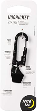 Nite Ize DoohicKey Keychain Multi Tool, Stainless-Steel 5-in-1 Multi Tool With Bottle Opener + Carabiner Clip, Black