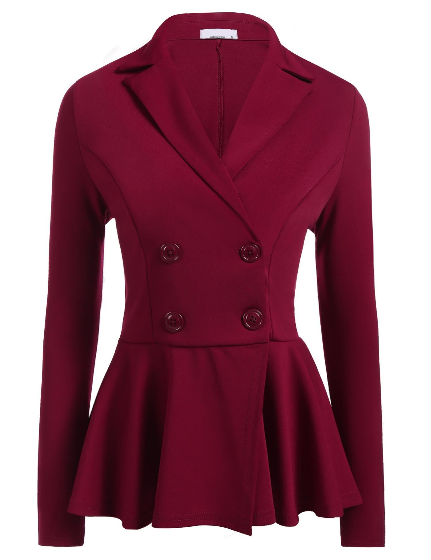 ELESOL Women's Work Office Blazer Casual Long Sleeve Lapel Lightweight Jacket Buttons Wine Red XXL