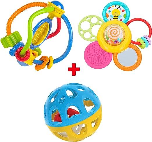 Pack Bola con sonido, Mordedor Sensorial y Mordedor Espiral Daisy Sensorial Para Bebé + 0 Meses Coloridos con Sonido Bebé Recién Nacido Juguete Infantil (Bola, Mordedor Sensorial y Mordedor Daisy): Amazon.es: Juguetes