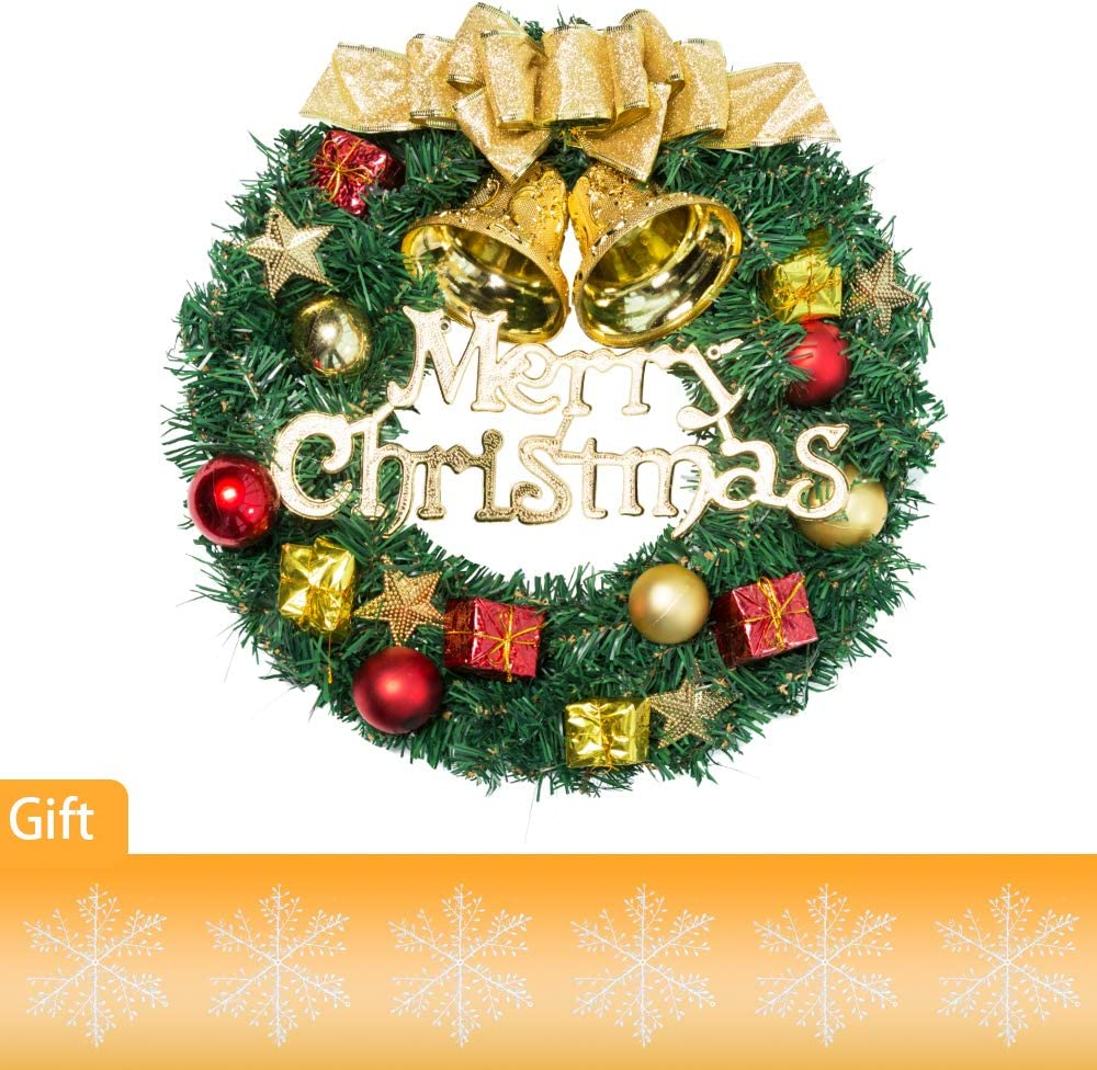 Pine Artificial Christmas Wreath Christmas Front Door Hanging Wreath 13 Inch Xmas Garland Wreath Ornaments with Balls Bells Gift Box Bowknot Star for