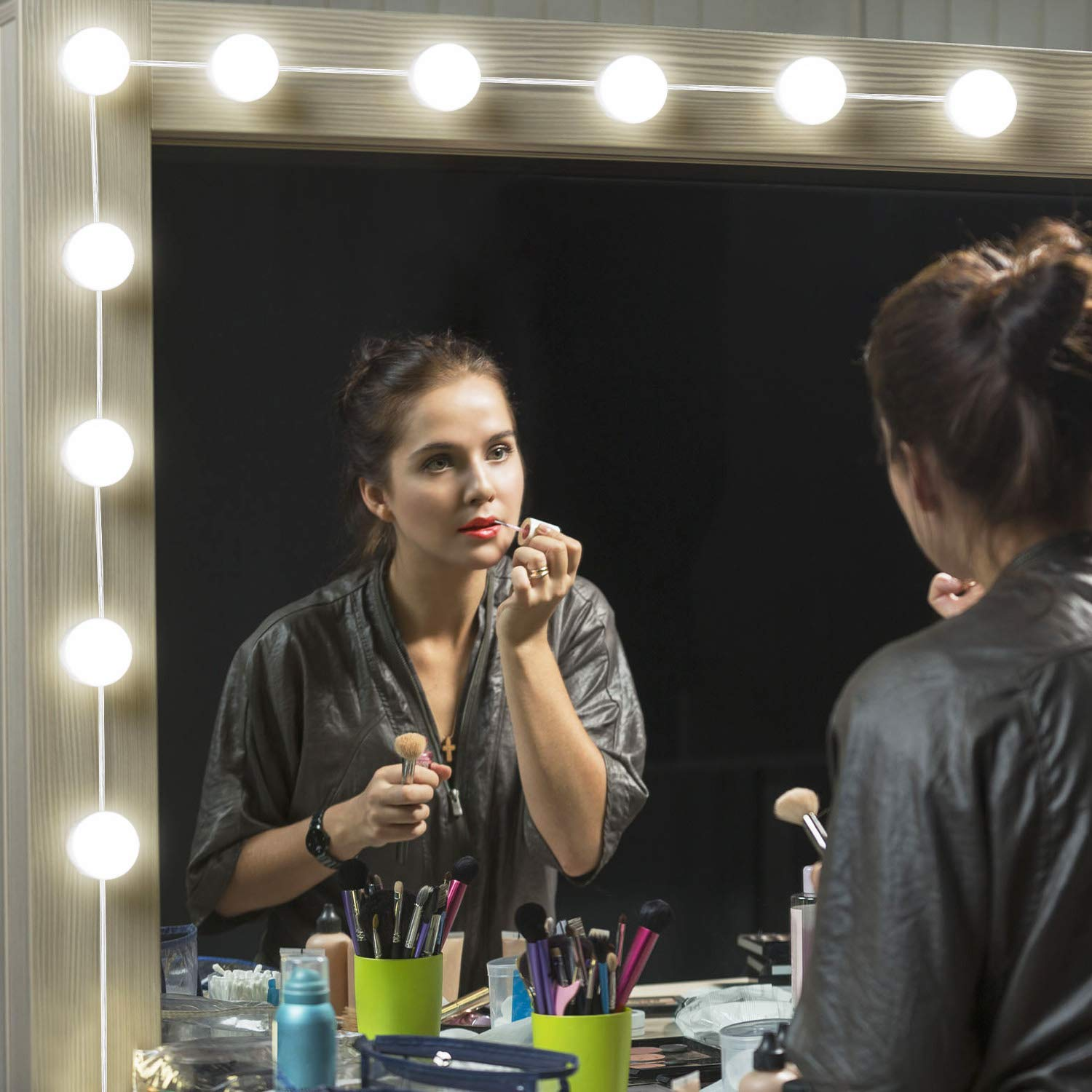 DIY LED Vanity Mirror Lights Kit, Arichomy Makeup Light with 10 Dimmable Bulbs and Touch Dimmer for Makeup Vanity Table Set in Dressing Room (Mirror Not Included)
