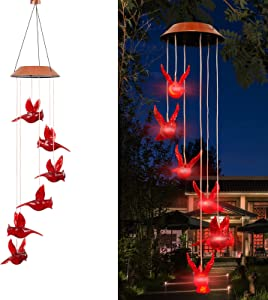 Rjdelpy Cardinal Bird Wind Chime Solar Powered Wind Chimes Spiral Spinner Windchime Portable Outdoor Chime Lights Outdoor Decoration Solar Hanging Lights for Patio, Deck, Yard, Garden