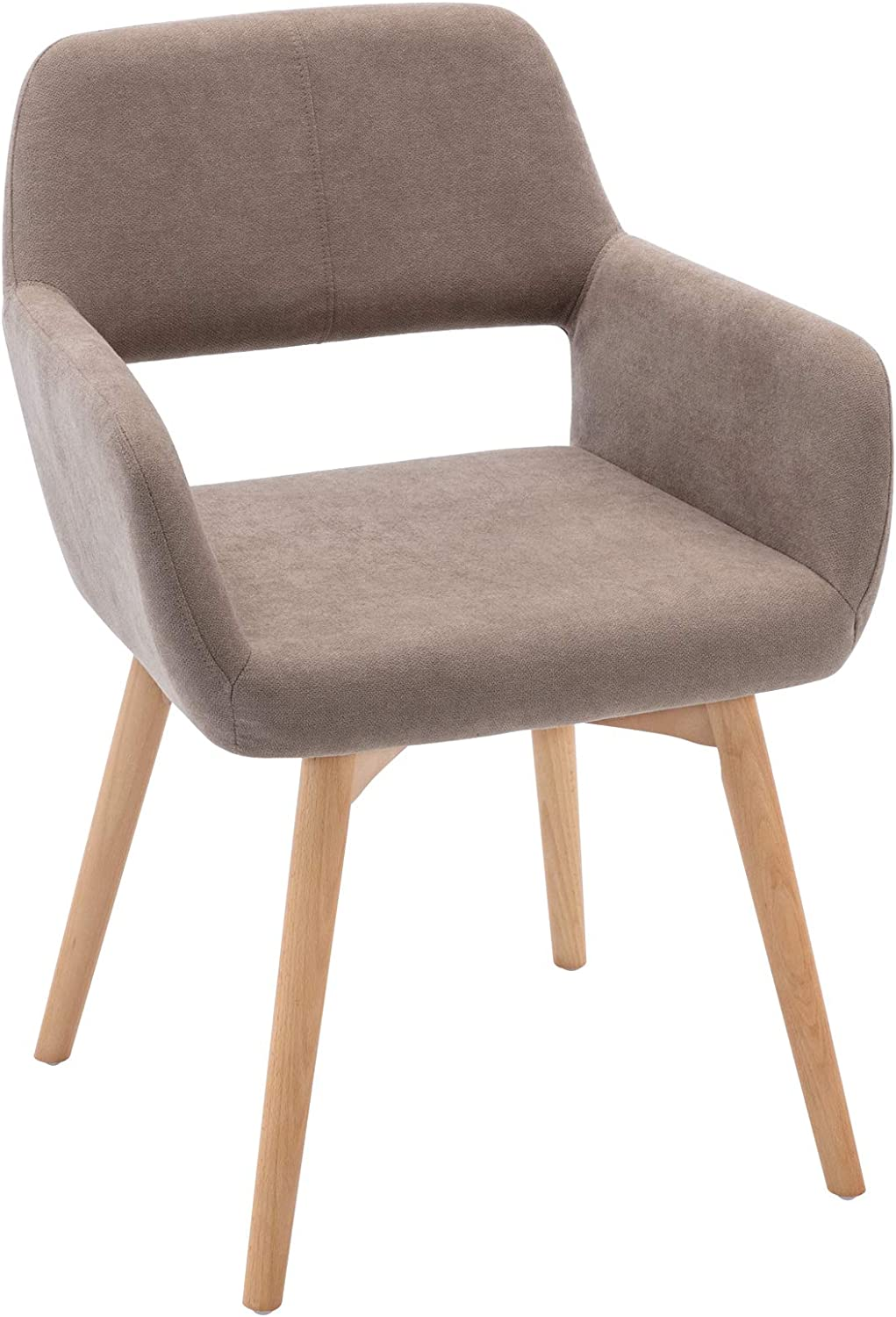 Lansen Furniture Modern Living Dining Room Accent Arm Chairs Club Guest with Solid Wood Legs (1, Light Brown)