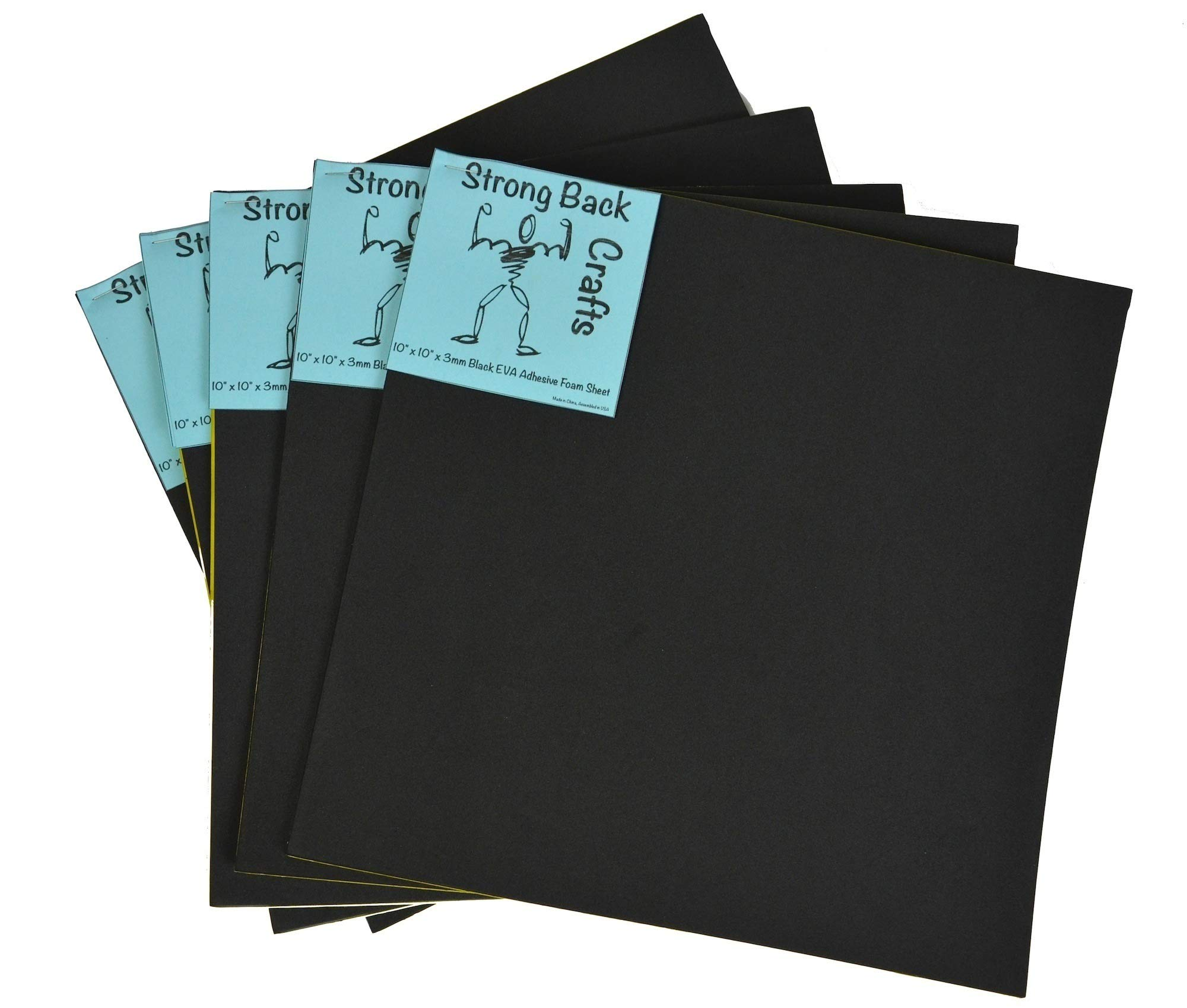 Black Self-stick Adhesive 10'' x 10'' EVA High Density Foam Sheets (5 Pack) 3mm by Strong Back Crafts- for canoe & kayak seats & traction pads, dog traction for cars, scrapbooking, arm & wrist rests