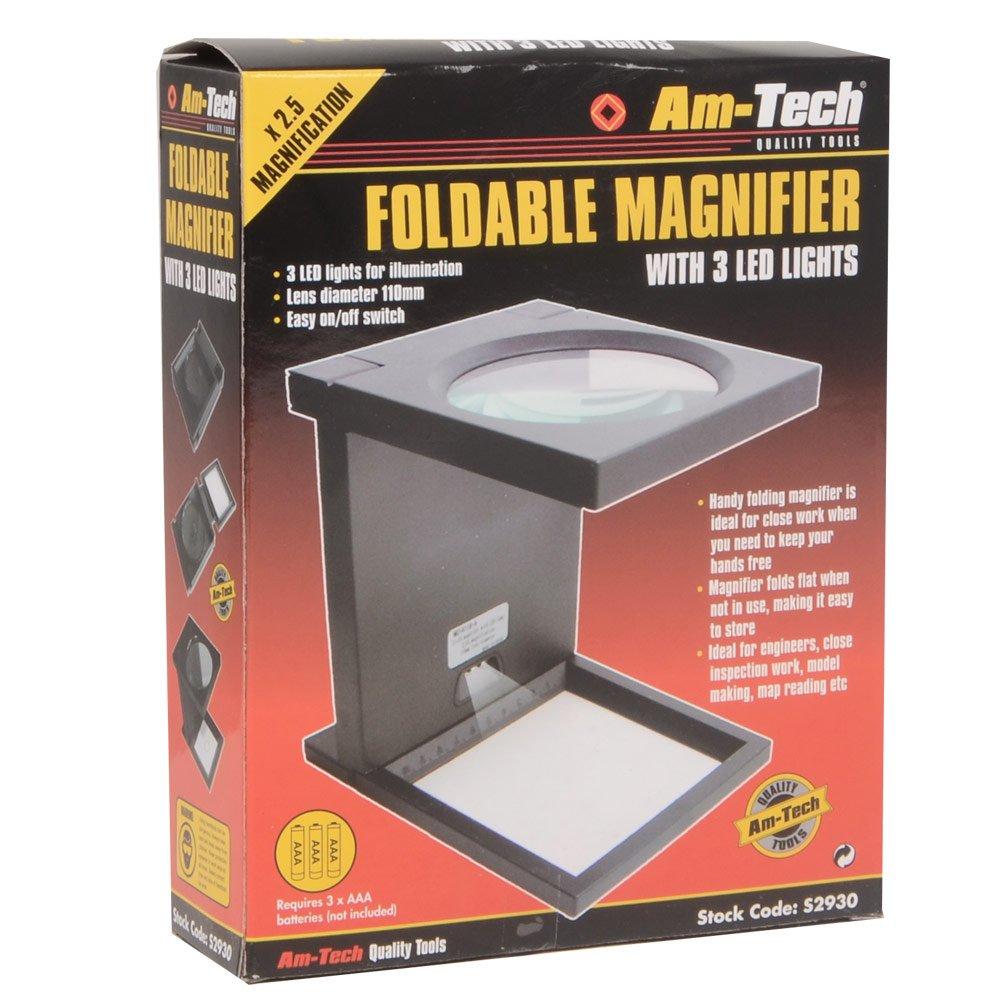 FOLDABLE MAGNIFIER MAGNIFIYING GLASS 3 LED LIGHTS