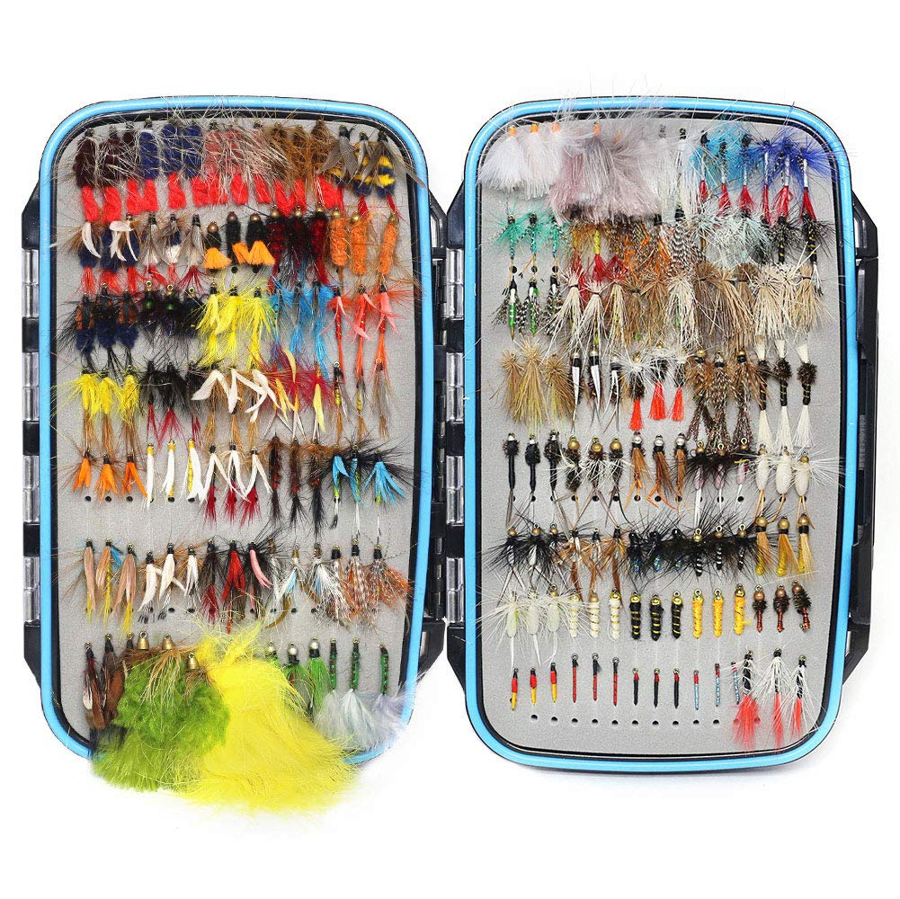 YZD Trout Fly Fishing Flies Collection 225/180/120/118/60 Premium Flies Dry Wet Nymph Streamers Fly Assortment with Fly Box Flyfishing Flys Lures Kits (Deluxe Trout Guide Fly Selection 225Pcs)