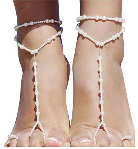 a8ccbc34188 Amazon.com  Bellady 2 Pcs Womens Beach Imitation Pearl Barefoot Sandal Foot  Jewelry Anklet Chain  Jewelry