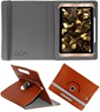ACM Rotating 360° Leather Flip Case for Iball Slide Snap 4g2 Tablet Cover Stand Brown