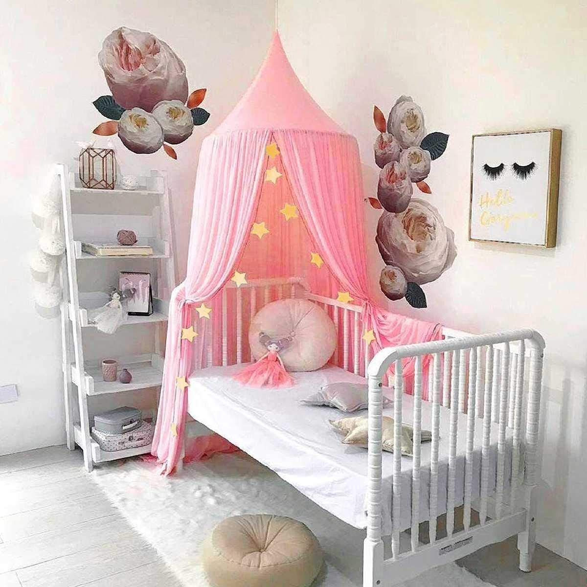 Bed Canopy for Kids Baby Bed Round Dome Kids Indoor Outdoor Castle Play Tent Hanging House Decoration Reading Nook Cotton Canvas Coral-3 Colors Pink