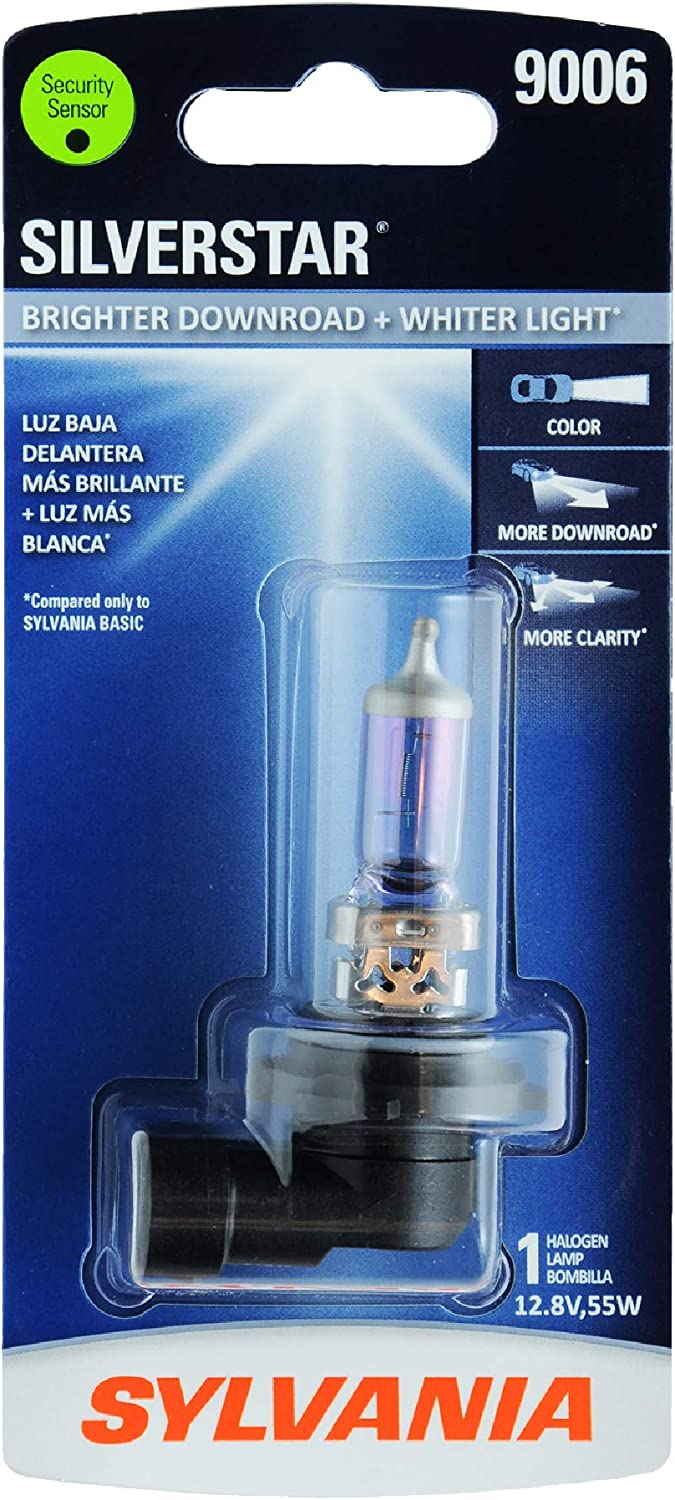 SYLVANIA - 9006 SilverStar - High Performance Halogen Headlight Bulb, High Beam, Low Beam and Fog Replacement Bulb, Brighter Downroad with Whiter Light (Contains 1 Bulb)