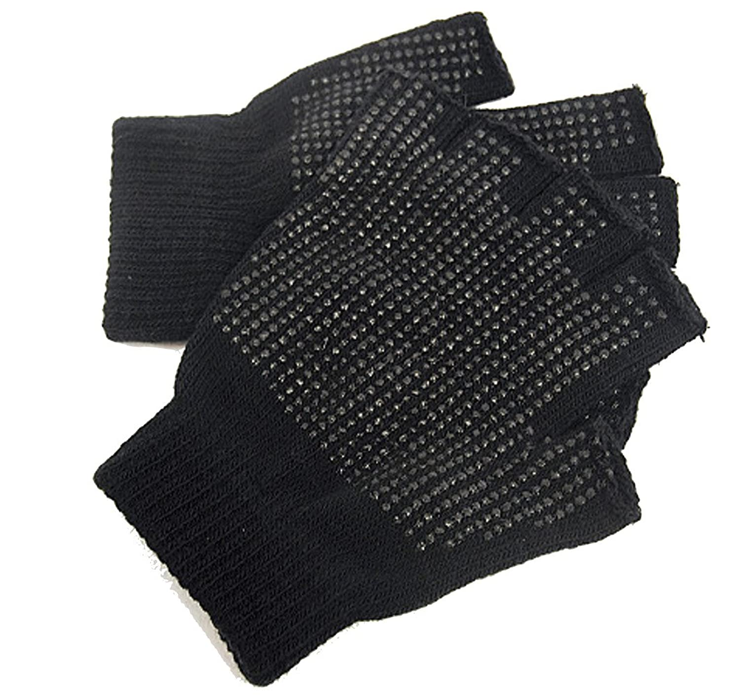 2 x Pairs Adults Black Fingerless Gripper Gloves - One Size, men or ...