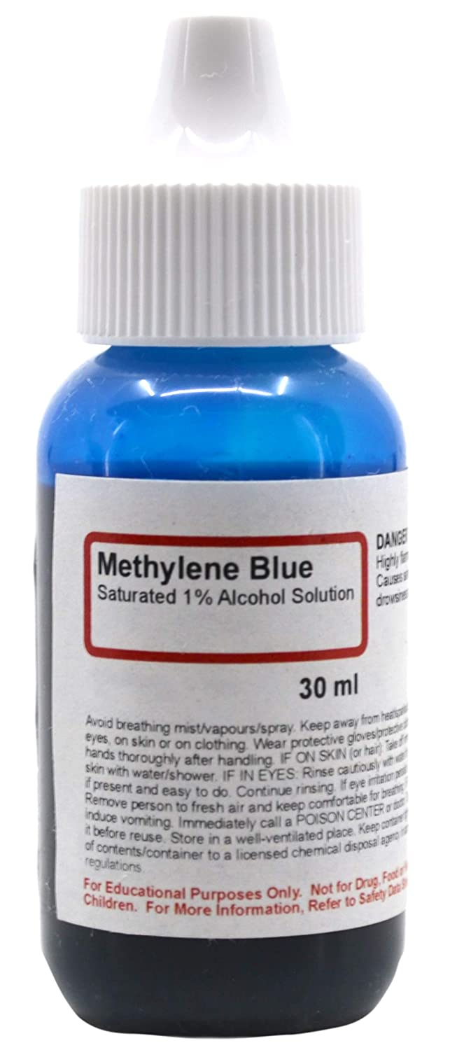 Methylene Blue, Saturated 1% Alcohol Solution, 1 fl oz (30mL) - The Curated Chemical Collection