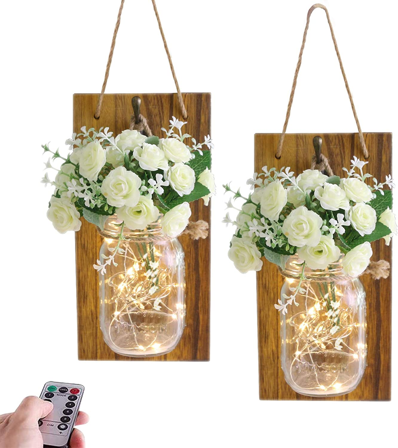 Wall Mason Jar Decor, Mason Jar Sconces, Farmhouse Wall Decor, Home Decorations Led Fairy lights with Remote Control, Rustic Wooden Board with Bronze Retro Hooks (Set of 2)